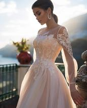 Deluxe A-line Wedding Dress Light Pink Wedding Gowns Elegant Bride Dress With Lo image 2