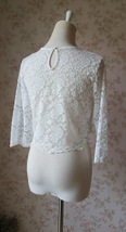 3 Quarters Sleeve White Lace Top Loose Fitting Bridesmaid Crop Lace Top image 5