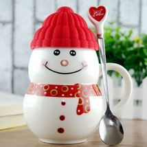 Snowman Mug + Cover Red + Spoon Christmas Gifts Ceramic Coffee Milk Tea ... - $34.95