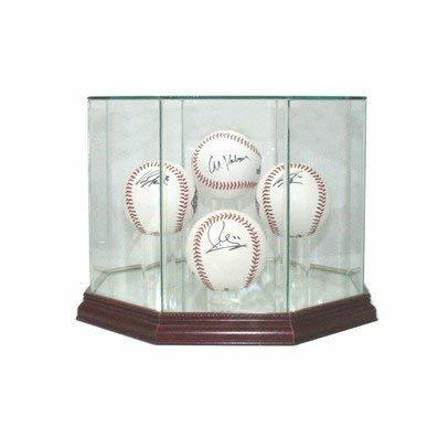 Glass Four (4) Baseball Display Case with Cherry Wood Molding (4-Ball)