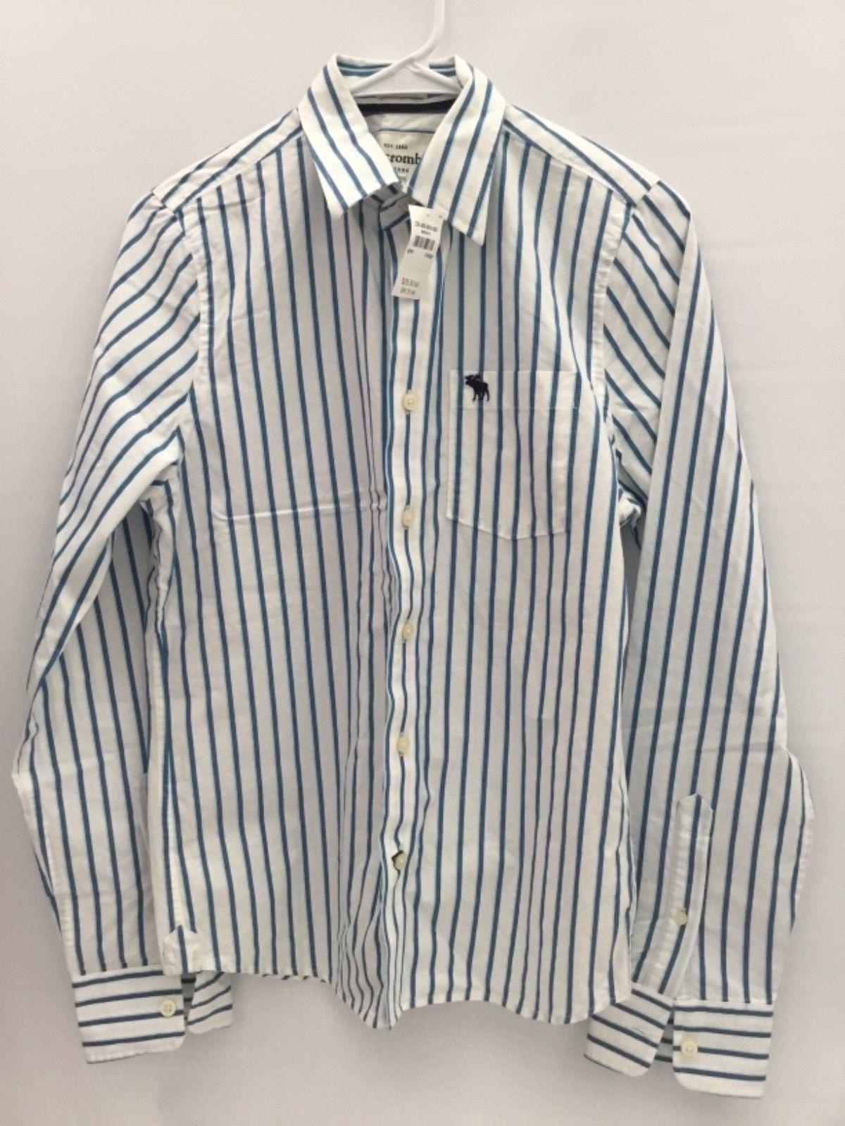 cbc443761 S l1600. S l1600. Previous. Abercrombie Boys Muscle Long Sleeve Button Up  Shirt Blue/White ...