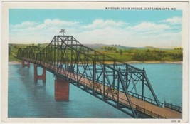 Missouri River Bridge Jefferson City Missouri MO Postcard Curt Teich Unused - $6.99