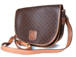 Authentic Celine Macadam Pvc Canvas Leather Brown Shoulder Bag CS13408L - $99.00