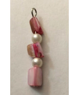 "Vintage Necklace Pendant Pink And White Beads 1 1/2"" H 1/4"" W - $2.85"