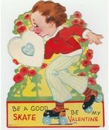 Vintage Valentine Card Mechanical Roller Skating Boy 1930's Vivid Colors - $12.86