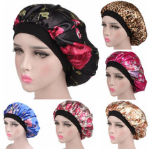 Women Satin Soft Floral Beanies Hats Night Sleep Cap Ladies Stretchy Hai... - $9.88