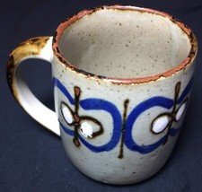 "Coffee Mug Cup Grey ""Stone Look"" Butterfly Design Brown Handle - $4.44"