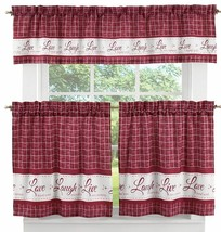 "3 pc Curtains Set: 2 Tiers & Valance(58""x14"") LIVE LAUGH LOVE, Burgundy ... - $19.79"