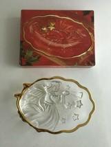 "Mikasa Crystal Angel Song Gold Trim Sweet Dish  6.5"" X 4.5"" Christmas - $6.30"