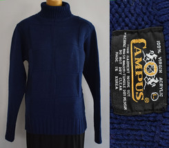 Vintage 70s Mens Basket Weave Turtleneck Sweater Size Small to Medium - $64.99