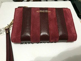 Michael Kors Lg Double Zip Phone Wristlet Wallet  Maroon Suede Embossed ... - $64.35
