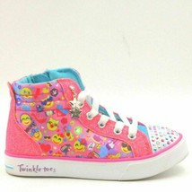 Skechers Youth Light Up Sneakers Twinkle Toes Size US 11.5 Pink Emoji Magic - $10.80