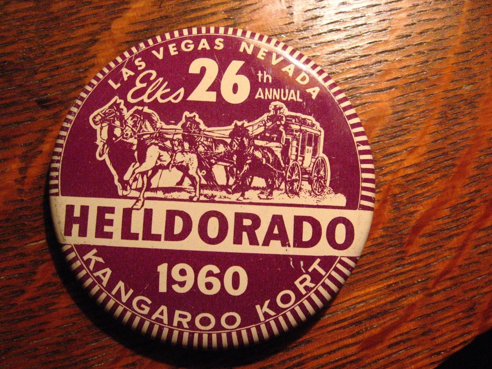 Elks Club Vintage Lapel Pin - 1960 Las Vegas Nevada USA HellDorado Kangaroo Kort