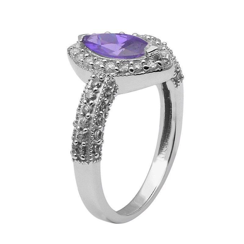 Tanzanite Color Cubic Zirconia 925 Sterling Silver Ring Jewelry Size-9 SHRI1418