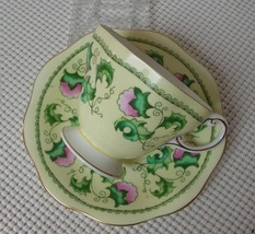 Lovely China FOOTED TEA CUP & SAUCER by E B FOLEY Yellow Green Leaves Bo... - $33.94