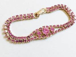 "VTG Czech Pink crystal rhinestones gold wash bracelet 6.5"" - $64.35"