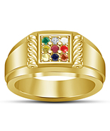 Navratna Natural Gemstone men's Ring 925 Sterling Silver Gold Fn Classic... - $56.33