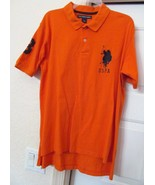 U.S.Polo Assn  Men's Big Pony S/S Polo Shirt-100% Cotton-Orange w/Dk Nav... - $27.89