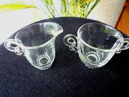 Heisey Glass Lariat Pattern Cream and Sugar Set Signed - $9.90