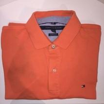 Tommy Hilfiger Mens Orange Polo Classic Fit Sz L Used  - $11.29