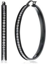 JEWELRY Womens Black Stainless Steel Cubic Zirconia Hoop Earrings 55mm - $34.45