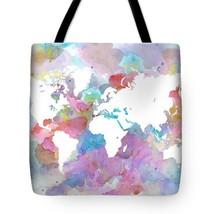Tote bag All over print Design 48 World Map watercolor digital art L.Dumas - $29.99+