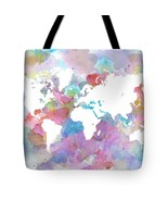 Tote bag All over print Design 48 World Map wat... - $29.99 - $35.99