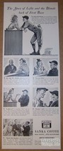 Sanka Coffee '40s baseball caffeine-free romance PRINT AD advertisement ... - $11.64
