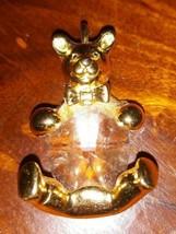 TEDDY BEAR CHARM Pendant Gold Tone Clear Glass Belly  - $9.89