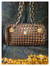 Vintage Bally brown and dark brown intrecciato leather drum shape bag with chain image 2