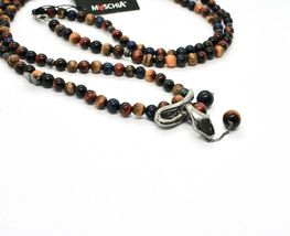 925 STERLING SILVER NECKLACE WITH SNAKE AND TIGER'S EYE MADE IN ITALY BY MASCHIA image 4