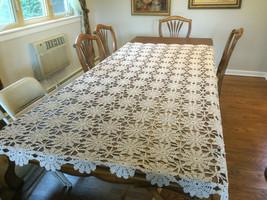 """VINTAGE big Cotton Crochet Table cloth 66"""" x 97""""- Wheat color - $50.96"""