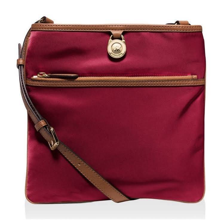 e67e691b25eb S l1600. S l1600. Previous. Michael Kors Kempton Merlot Large Pocket Nylon  Crossbody Bag Purse 32S5GKPC9C