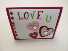 Love you hand made blank greeting card, red pink and green for woman - $3.25