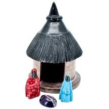 Tabaka Chigware Hand Carved Kisii Soapstone Nativity Set w Hut Manger Made Kenya image 1