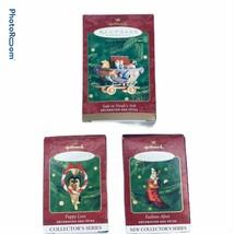 Lot of 3 Hallmark Christmas Ornaments Noahs Ark Fashion Afoot Puppy Love Box - $32.19