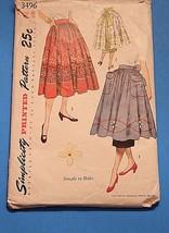 """1951 Simplicity Pattern 3496 2 Aprons & 1 Skirt Waist 26"""" Hips 35"""" Cut C... - $12.41"""