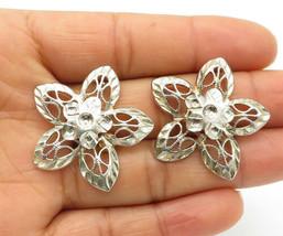 925 Sterling Silver - Vintage Shiny Etched Flower Designed Drop Earrings... - $32.31