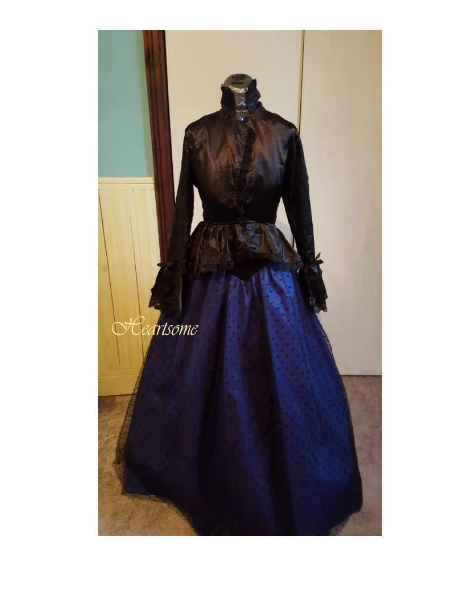 Victorian Gothic gown steampunk dress blue and similar items