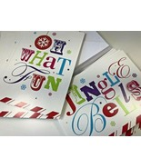 22 Jingle Bells Oh What Fun Christmas Greeting Cards Pastel Pink Blue Gr... - $17.81