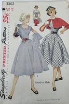 VTG Sewing Pattern Simplicity #3802 Size 10 Bust 28 Dress, Bolero and Di... - $11.83