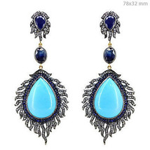 Sapphire/Turquoise 925 Silver 1.48ct Diamond Pave 14k Gold Long Earrings... - $3,138.30