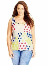 Top  18W Plus City Chic NWT $59  Polka Dot Multi Sleeveless Tank Tunic T... - $25.74