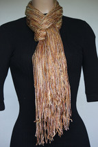 NEW Collection 18 Eighteen Women's Neck Scarf Fringed Champagne Metallic... - $10.88
