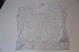 W12800 Womens Gap White Burnout Flower Dolman Sleeve Shirt Top Medium Tall - $27.02