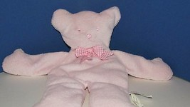 North American Bear Company plush pink pancake flat teddy gingham bow ba... - $6.92
