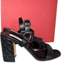 "Valentino Rockstuds Free Spike"" Quilted Leather Sandals 40 Pumps Shoes - $489.00"