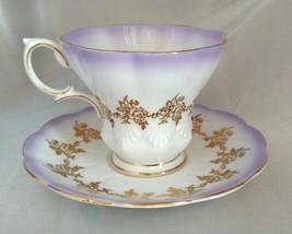 Vintage ROYAL ALBERT Bone China Purple/Gold Floral Lyric Tea Cup & Sauce... - $43.12