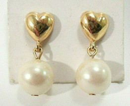 Vintage Dainty Heart Faux White Pearl & Gold Tone Drop Dangle Stud Earrings - $8.99