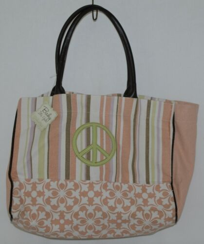 Grasslands Road Baby Its You 462441 Large Canvas Tote Stripped Peace Sign